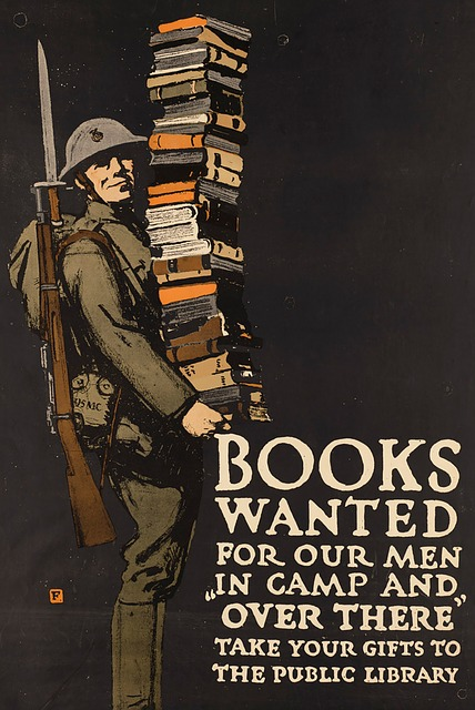 Poster of soldier carrying books
