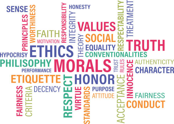 word-puzzle with words about ethics and integrity